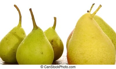 various pears on white background