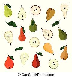 Various pears set