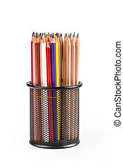 various pencils in metal grid container isolated on white...