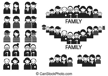 Various People Family Symbol Icons
