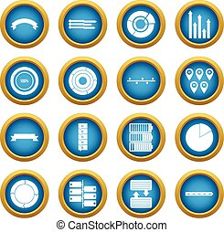 Various people icons blue circle set
