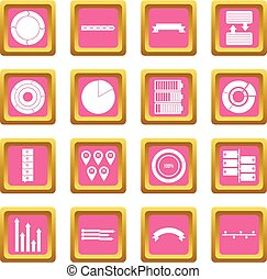Various people icons pink