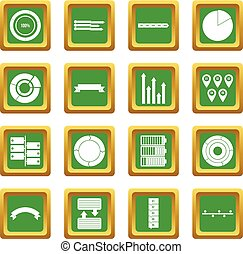 Various people icons set green