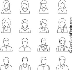 Various people icons set, outline style