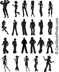 Various People Silhouette Clipart