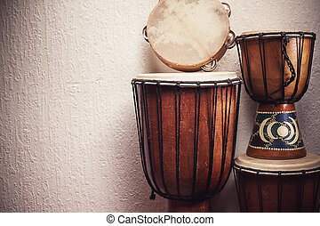 Various Percussion Instruments - Various djembes and...