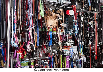 Various Pet Equipment Displayed At Store - Full frame shot...
