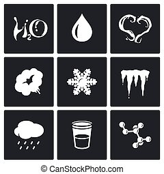 Various physical state of water icons set.