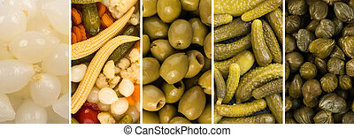 Various Pickled Food Collage with Marinated Vegetables