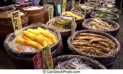 Various pickled vegetables at Nishiki market, Kyoto, Japan...