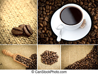 Various pictures representing coffee with coffee beans and...