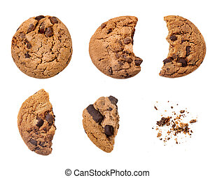 Various pieces of chocolate chips cookies isolated on white...