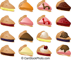 Variety of pies and toppings. Mix and match to create your own variations. illustration