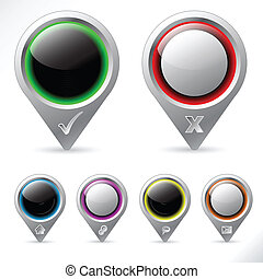 Various pointer icons in different color schemes
