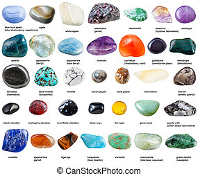 various polished gemstones with names isolated
