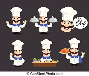 Various Poses of Chef Vector Illustration