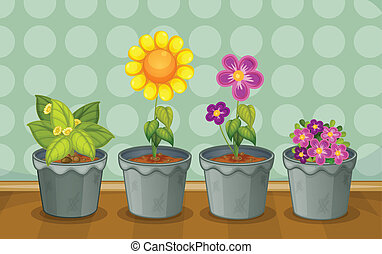 Various potted plants - Illustration of various potted...