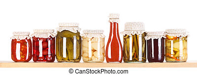 Various preserves on a wooden shelf - Lots of various...