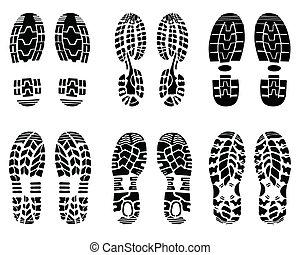 prints of shoe - Various prints of shoe, vector Illustration