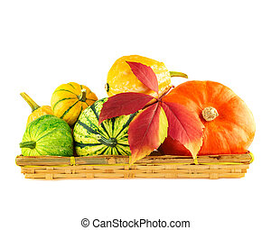 Various pumpkins in wicker box isolated on white background