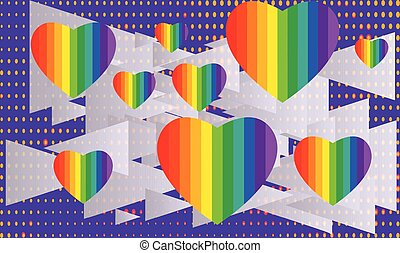 Various Rainbow hearts on Triangle background
