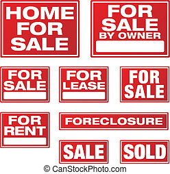 Various Real Estate and Business Signs.