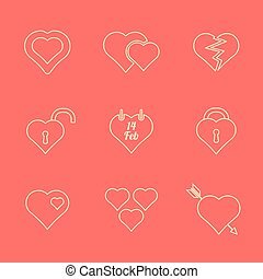 various red color outline heart ico
