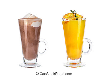 Various refreshing cocktails in glass mugs on white background.