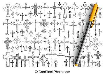 Various religious crosses doodle set