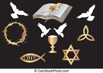 various religious symbols and doves isolated on black...