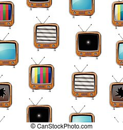 Various retro televisions. Seamless pattern