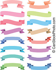 various ribbon set, vector - colorful ribbon set, vector ...
