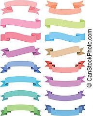 various ribbon set, vector - colorful ribbon set, vector ...