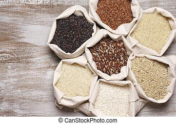 Various rice in bags