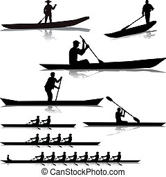 Various river rowers