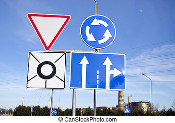 various road sign in city street
