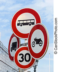 various road signs, symbol photo for traffic prohibitions bureaucracy