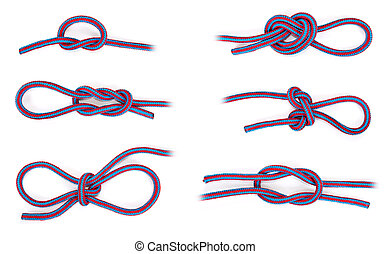 Various rope knots - Six different rope knots on white...