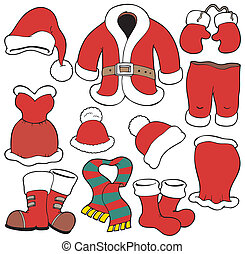 Various Santa Claus clothes - vector illustration.