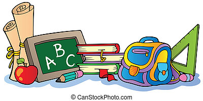 Various school supplies 1 - vector illustration.