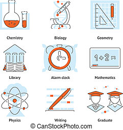 Various School Themed Graphic Icons