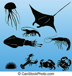 Various sea creatures vector