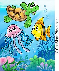 Various sea fishes and animals - color illustration.