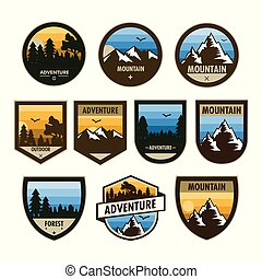Various Set of Adventure Shield Badge Design