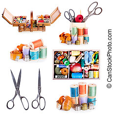 various sewing accessories : old scissors, buttons, threads on white background