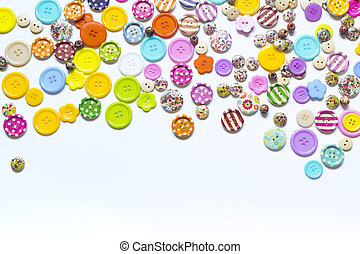 Various sewing buttons isolated on white background