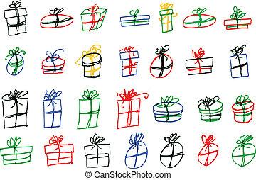 hand draw sketch, set of gift box