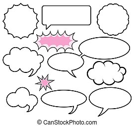 Various Shapes of Comic Speech Bubbles - Set of Vector illustrations
