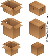 Various Shipping, Packing, and Moving Boxes Vector Illustration