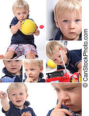 Various shots of a little blonde boy